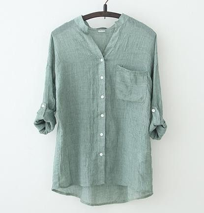 4 Solid Color Three Quarter Sleeve Vintage Style Cotton Linen Women Shirts 2016 Fashion Art Pockets Plus Size Blouse Loose Tops