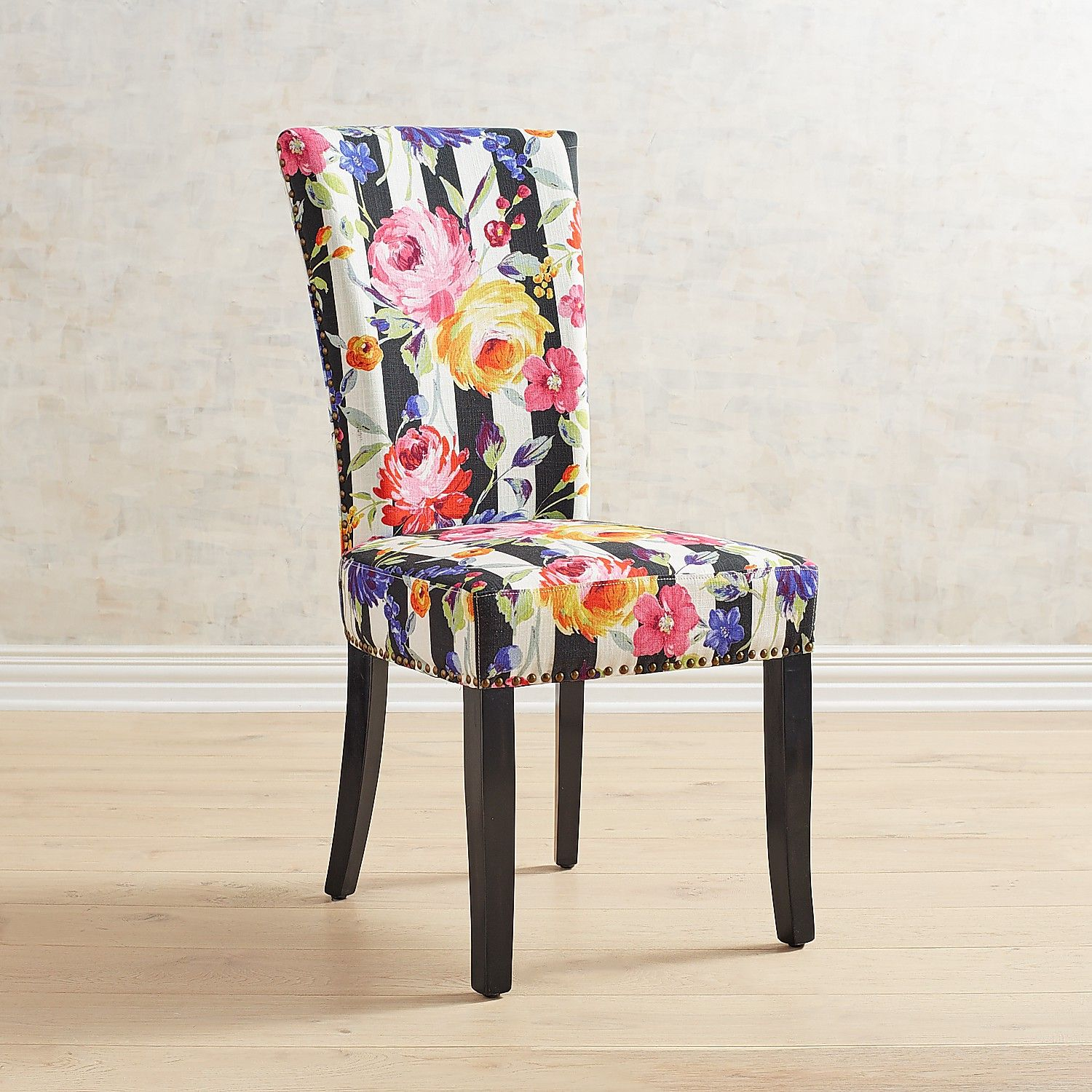 Adelaide Remy Floral Stripe Dining Chair With Rubbed Black ...