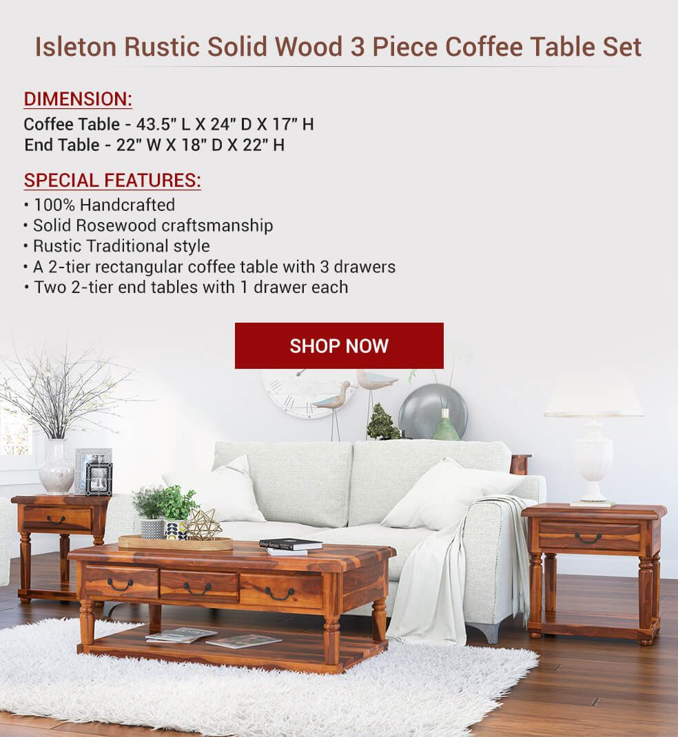 Baluster Rustic Wood 3 Piece Coffee Table Set With Drawers Coffee Table Setting 3 Piece Coffee Table Set Rustic Coffee Table Sets [ 1069 x 984 Pixel ]