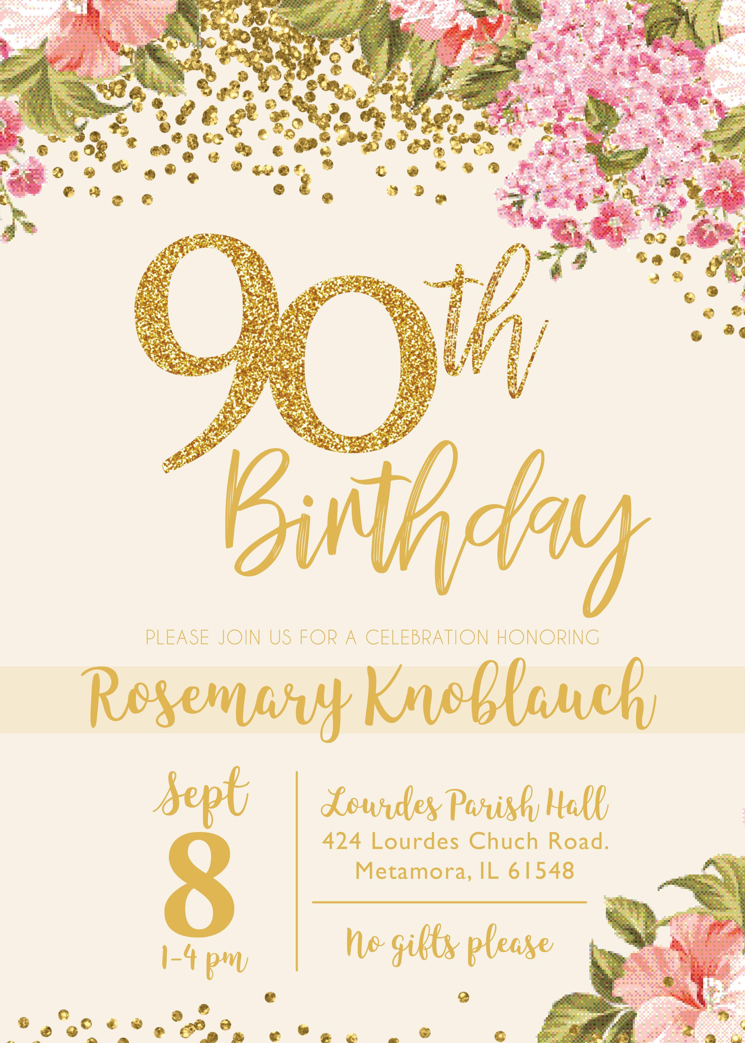 Pin De Vane Rodríguez En 90 Años Invitacion Cumpleaños