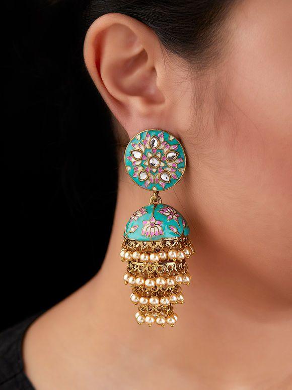 Buy Pink Meenakari Layered Brass Jhumkies online at ...