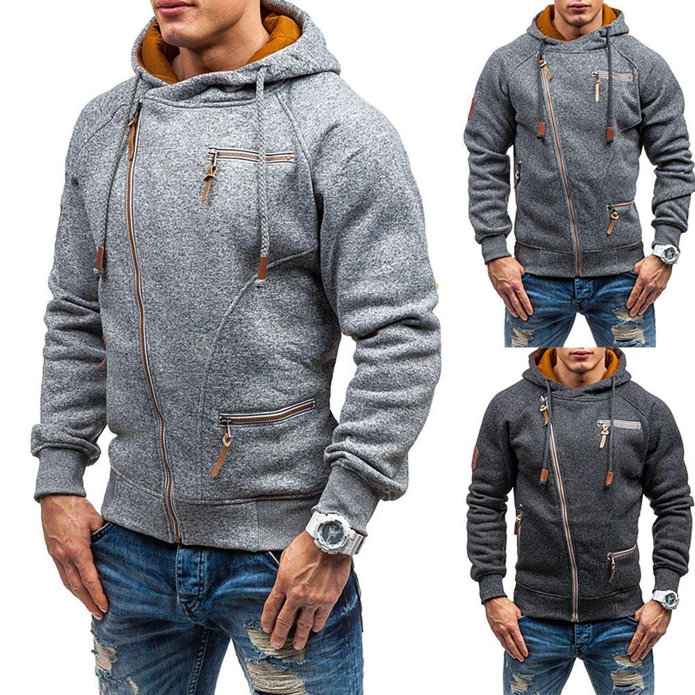 Men Hoodie Zip Up Sweatshirt Sports Jacket Pullover Hooded Outwear Top W//Pockets