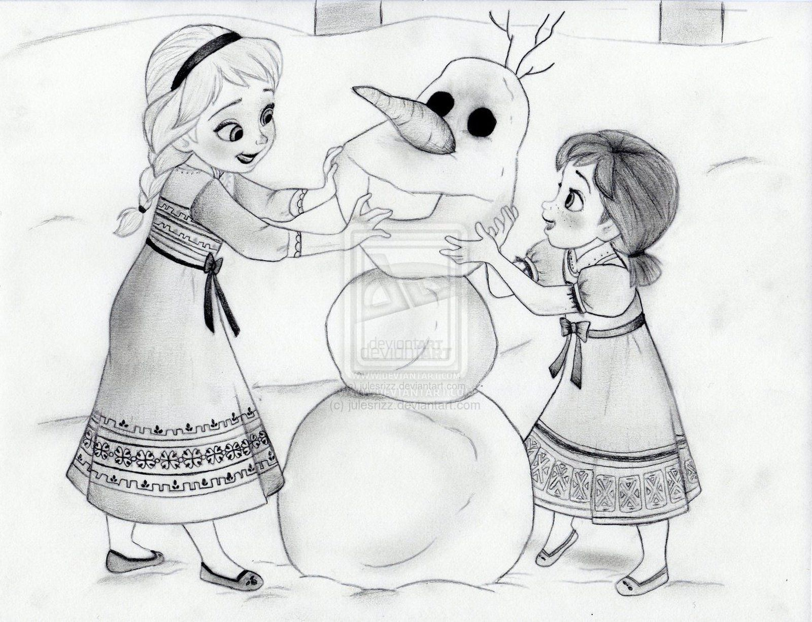 Elsa And Anna Make Olaf By Julesrizz On Deviantart Disney Drawings Sketches Olaf Drawing Frozen Fan Art