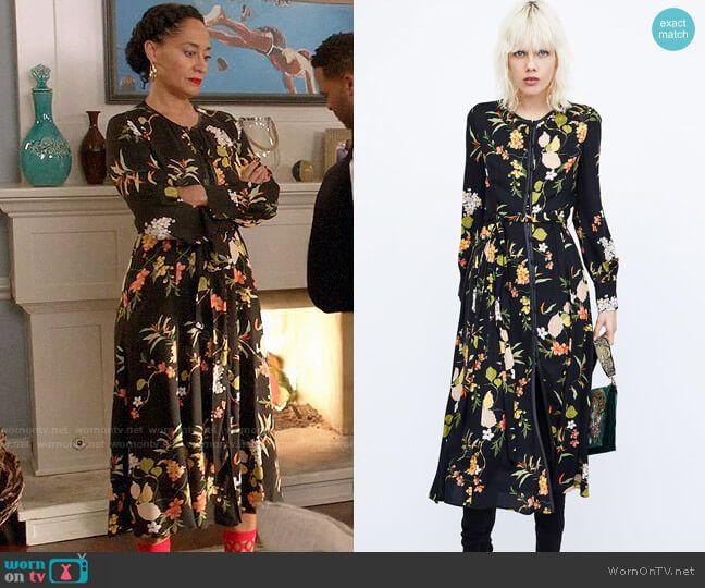 bd1eb870c387 Rainbow s black floral midi dress on Black-ish
