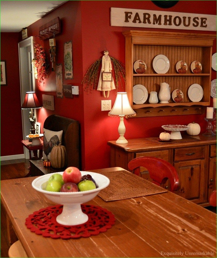 50 Fabulous Red And White Farmhouse Kitchen Ideas Truehome White Farmhouse Kitchens Red Kitchen Walls Farmhouse Kitchen