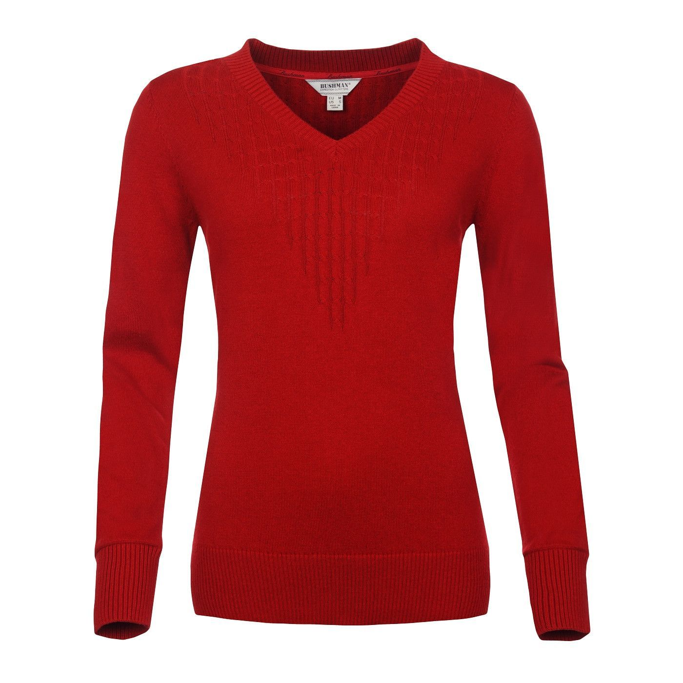 Front image of the Bushmanshop Biorka women's red cotton wool ...