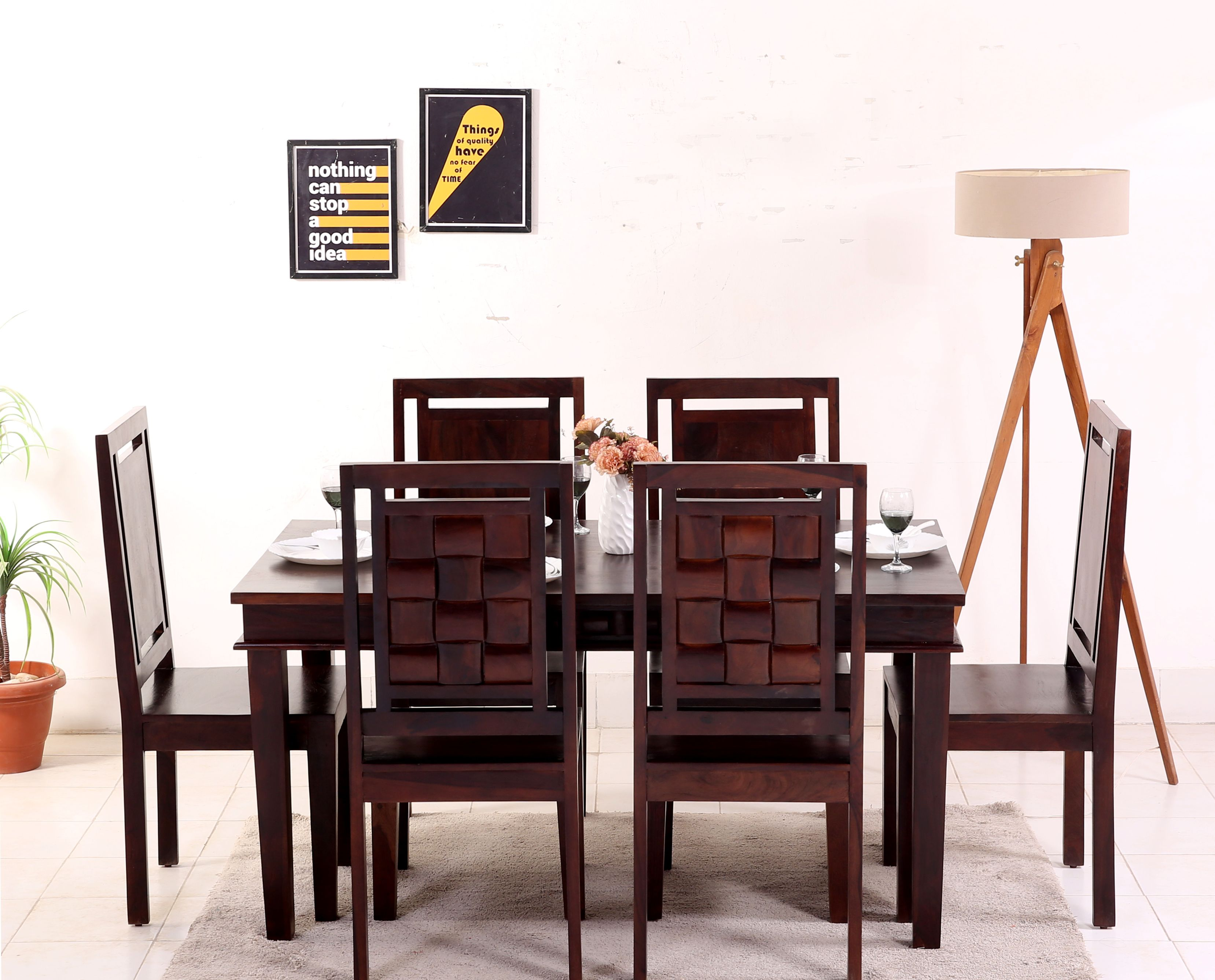 Buy Howler 6 Seater Dining Table Set Mahogany Finish Online In
