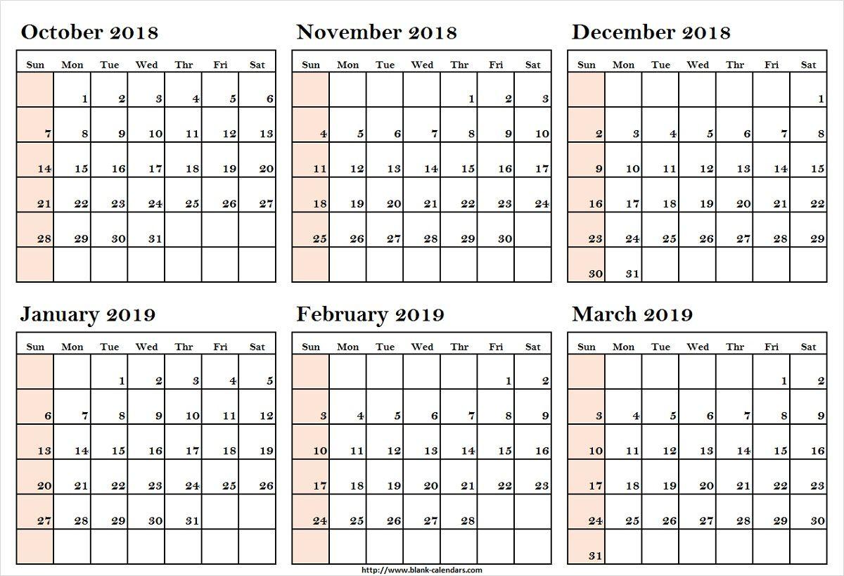 October 2018 To March 2019 Calendar Printableoctober 2018 To March 2019 Calendar Printable Calendar Template Calendar Printables Calendar