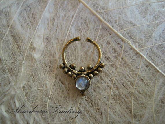 Brass Septum Rings pierced