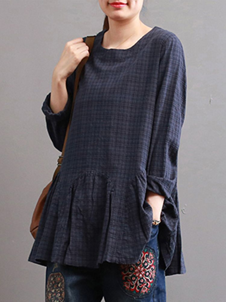 e58270eb690350 Women Check Long Sleeve Ruffled Loose Baggy Tops Blouse