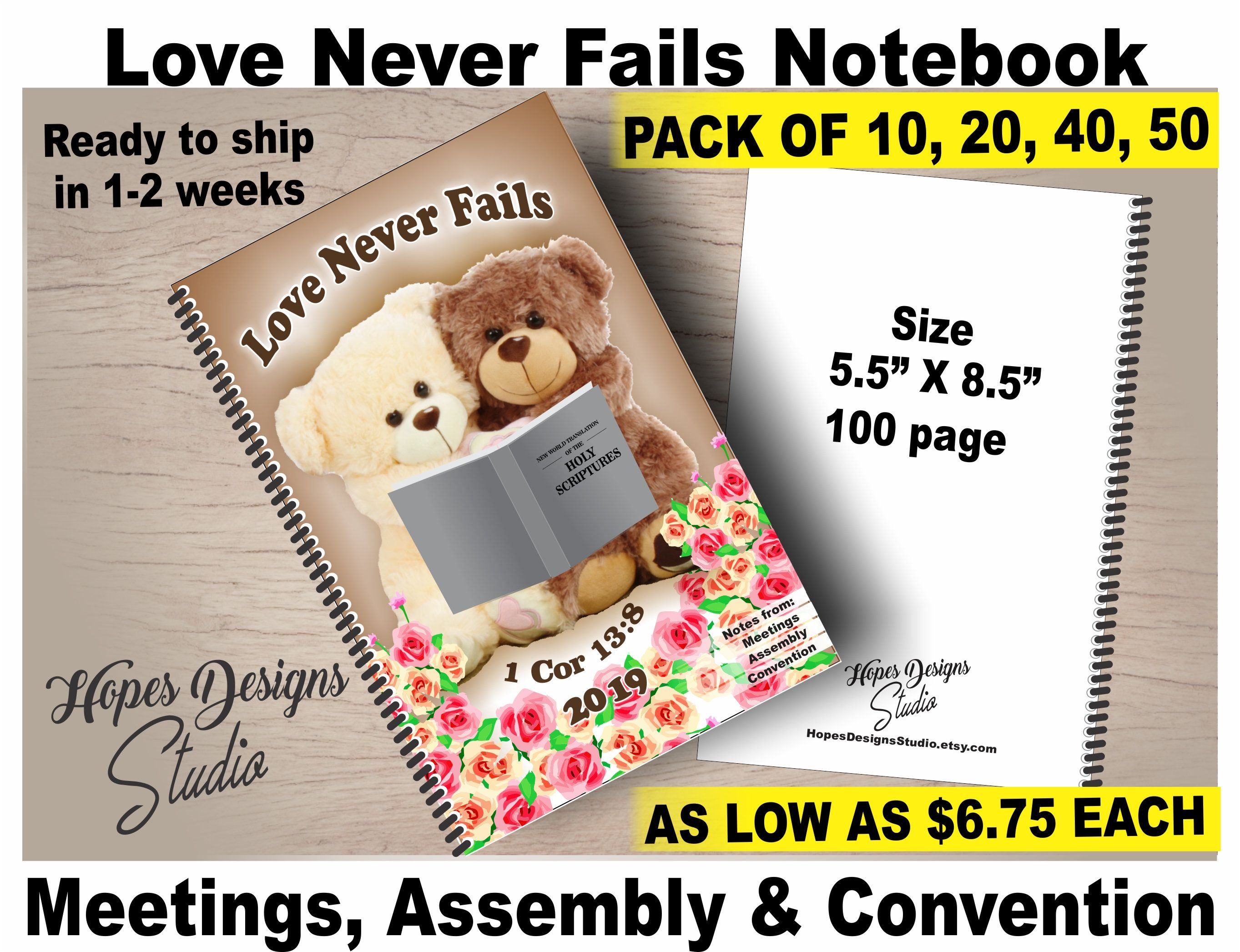 JW gifts/ Love Never Fails notebook/ International Convention/jw org