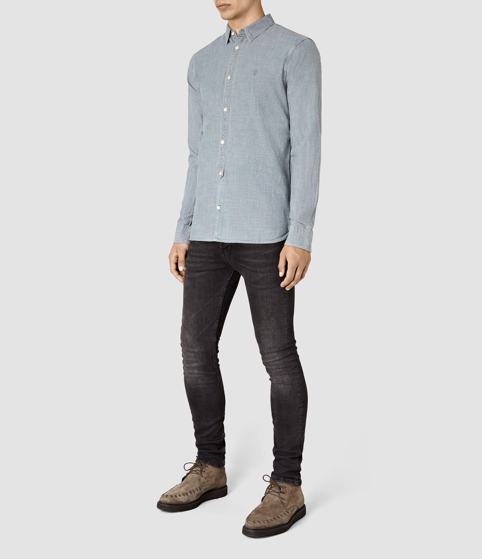 a5a19d1a20d5 ALLSAINTS UK: Mens Sycamore Shirt (MID INDIGO BLUE) | Fashion ...