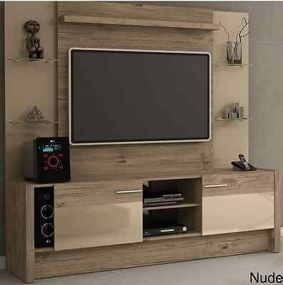 Entertainment Center Wall Unit Natural Wood Tv Console Rustic Media Built In