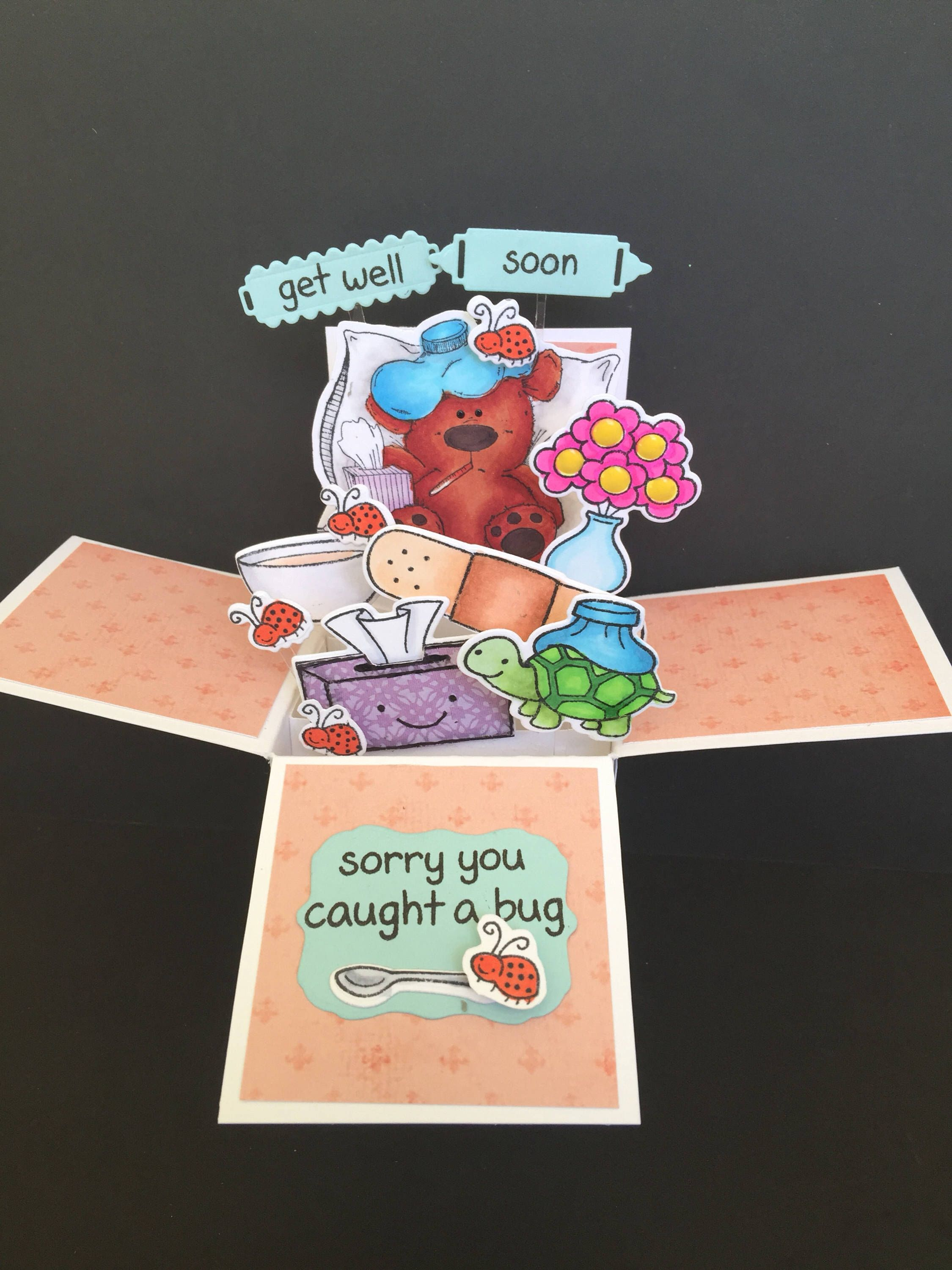 3d Get Well Soon Pop Up Box Card Get Better Soon Pop Up Card With Cute Bear Who Caught A Bug A Bouquet Of Flowers Bandaid Tissue Box Pop Up