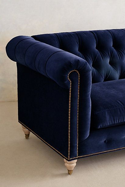 Superbe Dark Blue Velvet Sofa . Lyre Chesterfield Sofa   #anthrofave