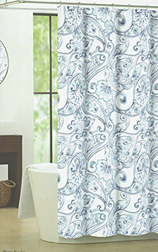 Nicole Miller Fabric Shower Curtain Cotton 72x72 Large Damask