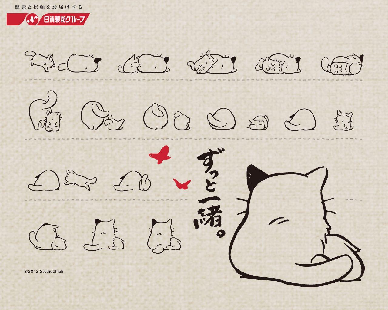 Studio Ghibli For Nisshin Seifun Group Inc コニャラ かわいい動物の絵 ネコ イラスト