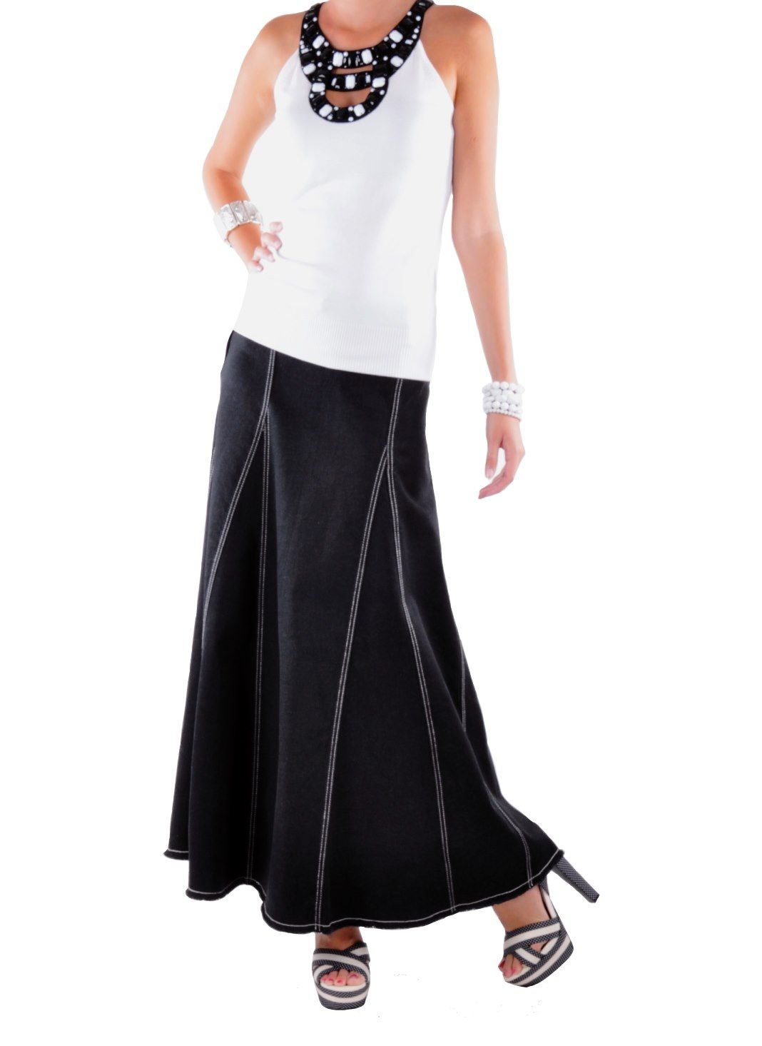Long Black Denim Skirt - Dress Ala