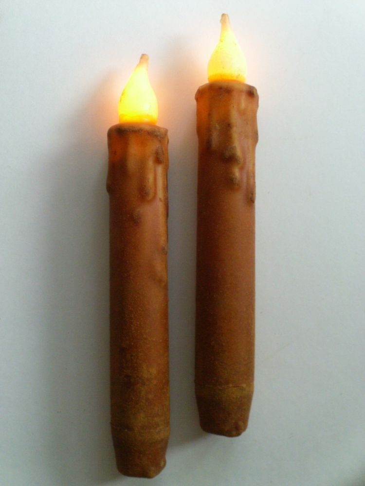 """6.5/"""" Battery Operated Taper Candles NON-TIMER THREE Burnt Mustard 6/"""""""