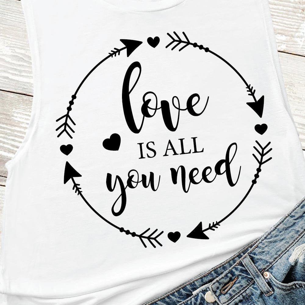 Download Valentine Svg, Love is all you need SVG, SVG, Wreath Svg ...