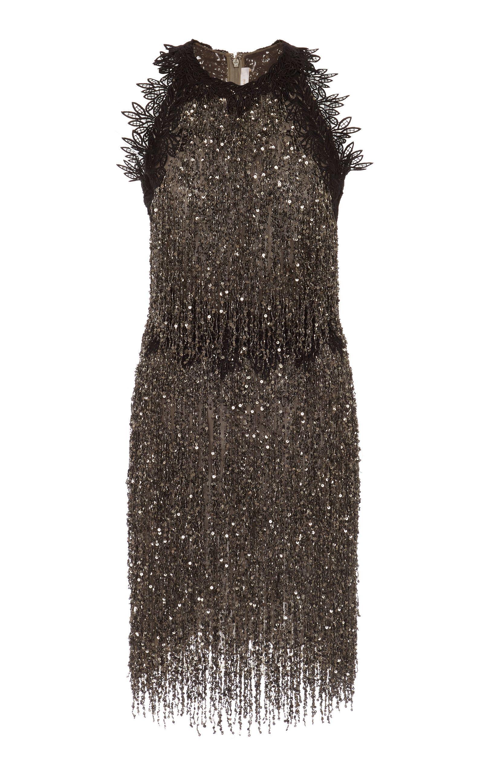 f5b46871dd Beaded Fringed Tulle Mini Dress in 2019