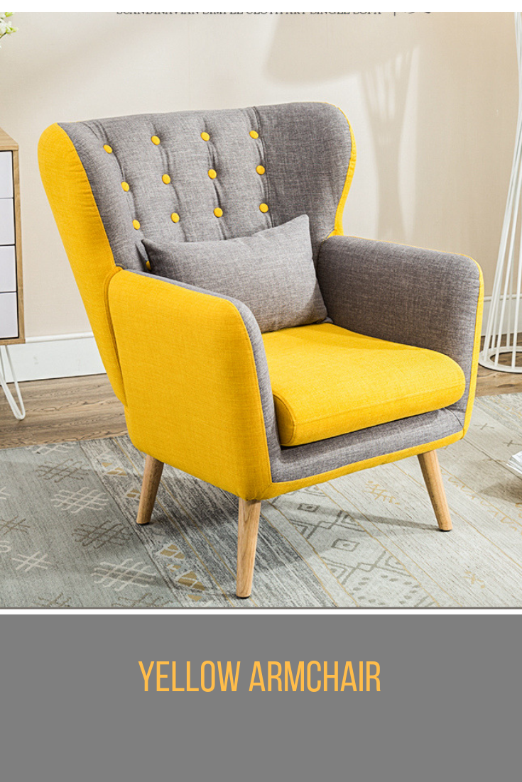 Yellow Wing Back Occasional Lounge Chair And Footstool - Living
