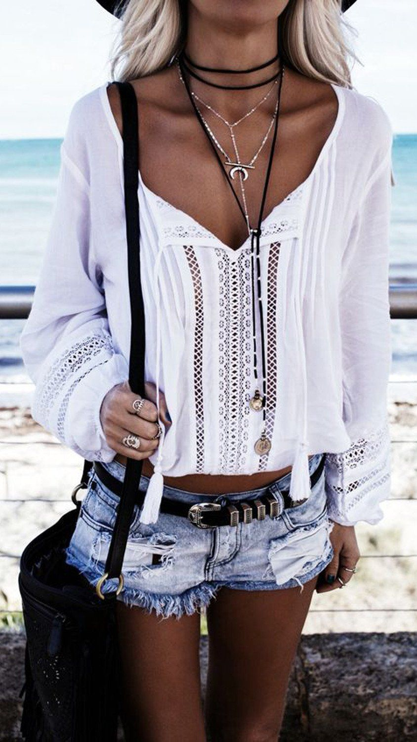 b19bb79c6227 Boho Chic Outfits 2017 - Spring Indie Fashion - Bohemian Style - How to Wear  a Black Choker Necklace Tie at MyBodiArt.com