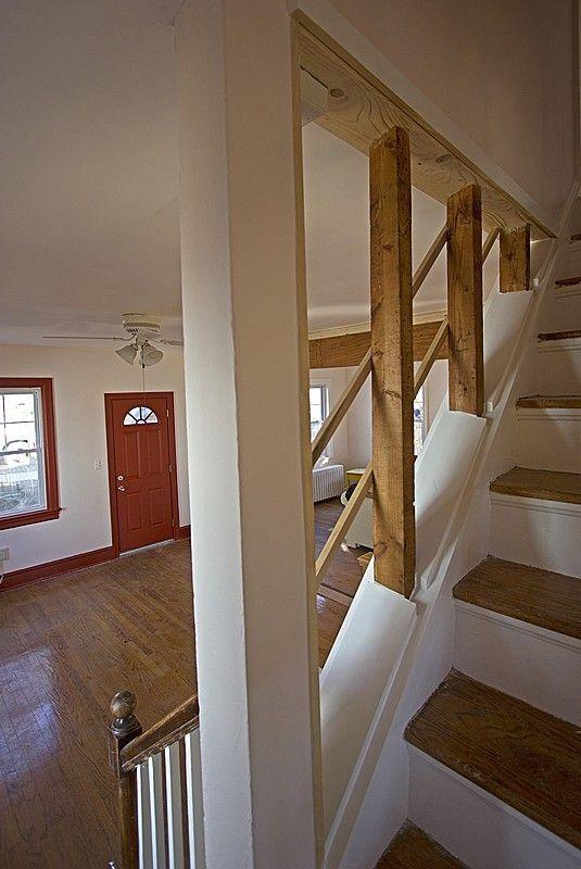 Exposed Studs Create An Open Stair Detail Basement