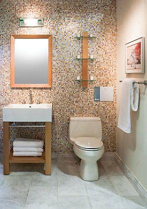 Bathroomgallery 27 12x18 In Vertical Ashlar Pattern The Tile Shop Small Shower Baths Tile Bathroom