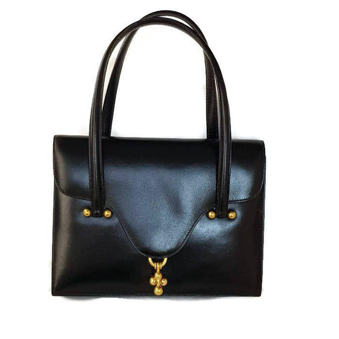 Photo of vintage Hermes bag, 60s vintage Hermes bag,small handbag, small black bag,vintage designer handbags, Hermes bag Hermes handbag vintage 60s