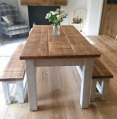 RUSTIC FARMHOUSE TABLE & BENCH SET DISTRESSED WHITE 182cm LONG - MADE TO ORDER !  | eBay