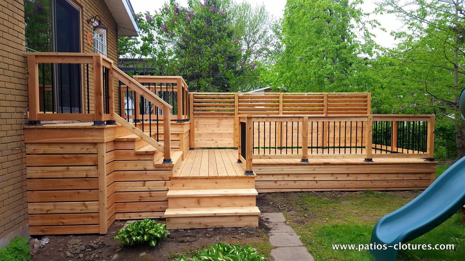 Beautiful Large Louvered Multi Level Cedar Deck Made With