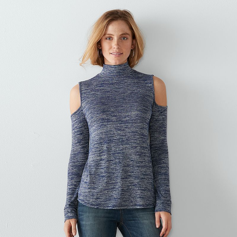 Women's SONOMA Goods for Life™ Cold-Shoulder Marled Tee, Dark Blue