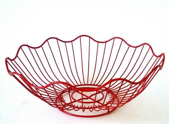 Metal Fruit Basket Red Wire Bowl