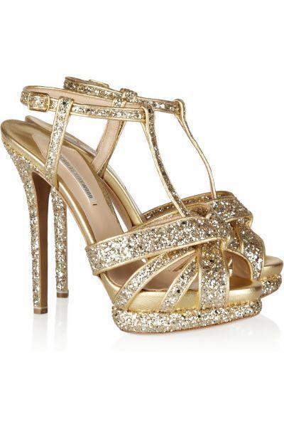 zapatos para bodas con glitter en dorado de nicholas kirkwood