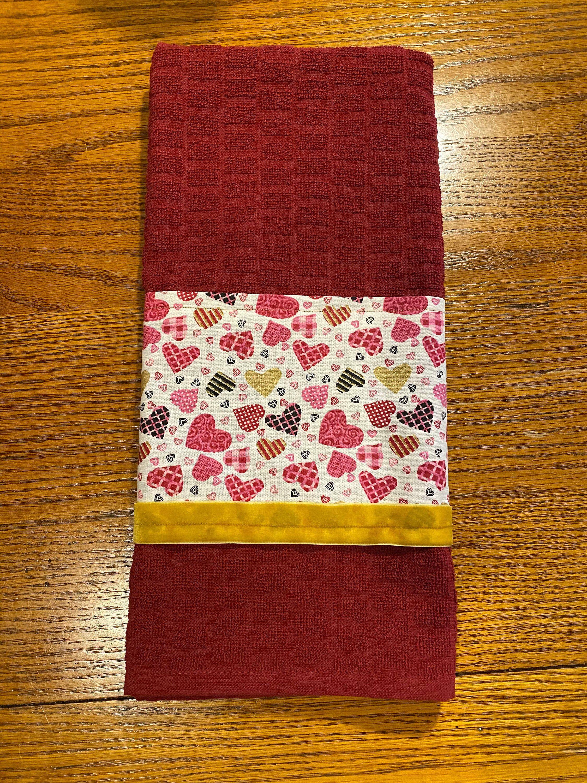 Handmade Dark Red Valentine S Day Kitchen Towel Excited To Share