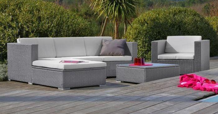 Salon jardin gris meuble exterieur pas cher | Maison email