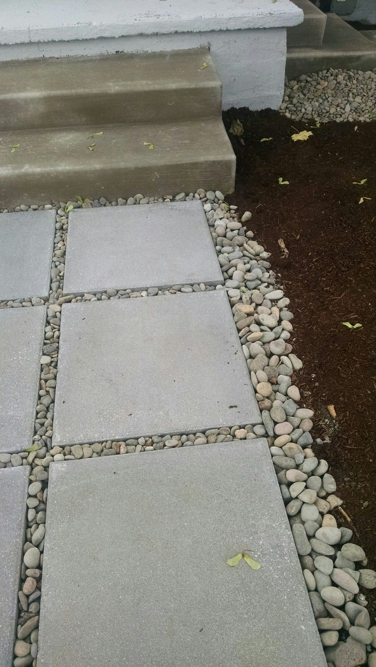 Beau Large Cement Paver, River Rock And Mulch Pathway.