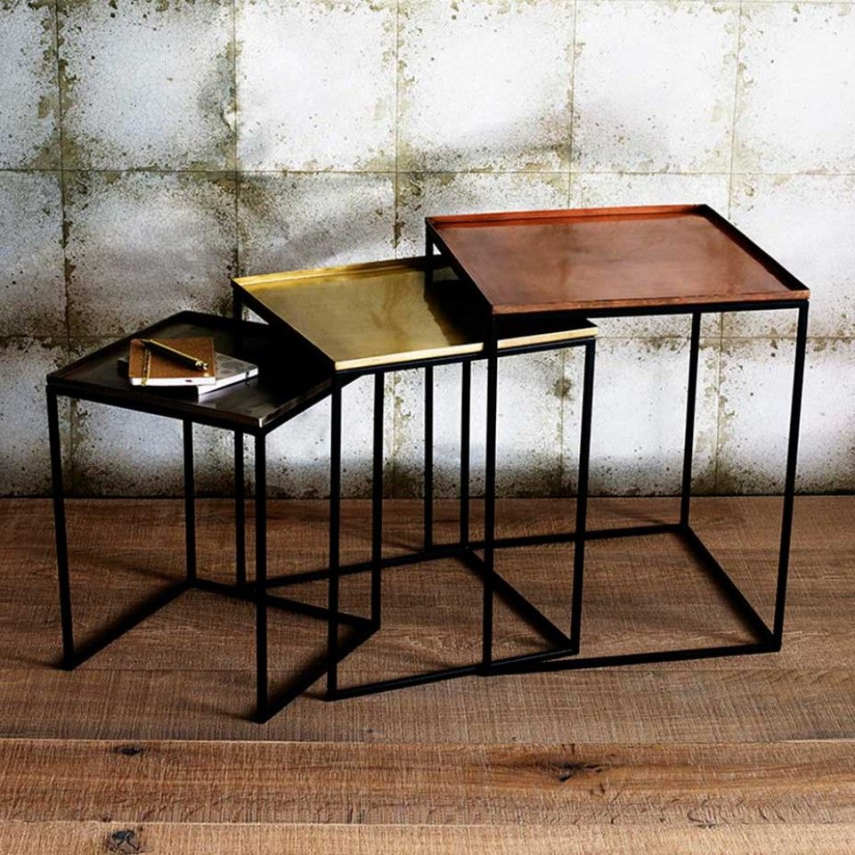 Square Tray Enamel Nesting Tables Set of 3 Copper/Brass/Nickel & Square Tray Enamel Nesting Tables Set of 3 Copper/Brass/Nickel ...