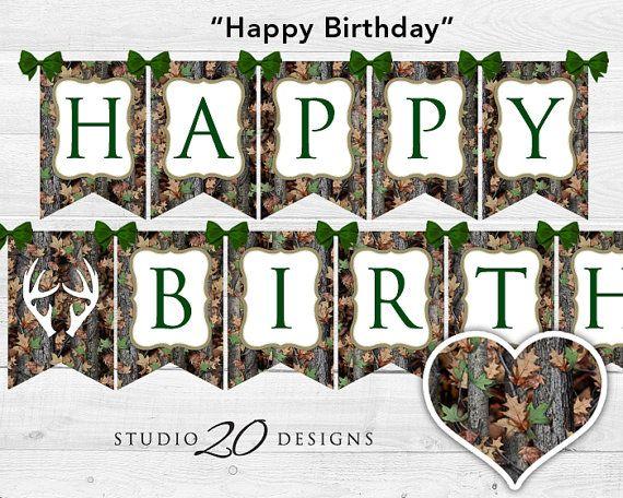 Instant Download Camo Birthday Banner Camo Happy Birthday Bunting