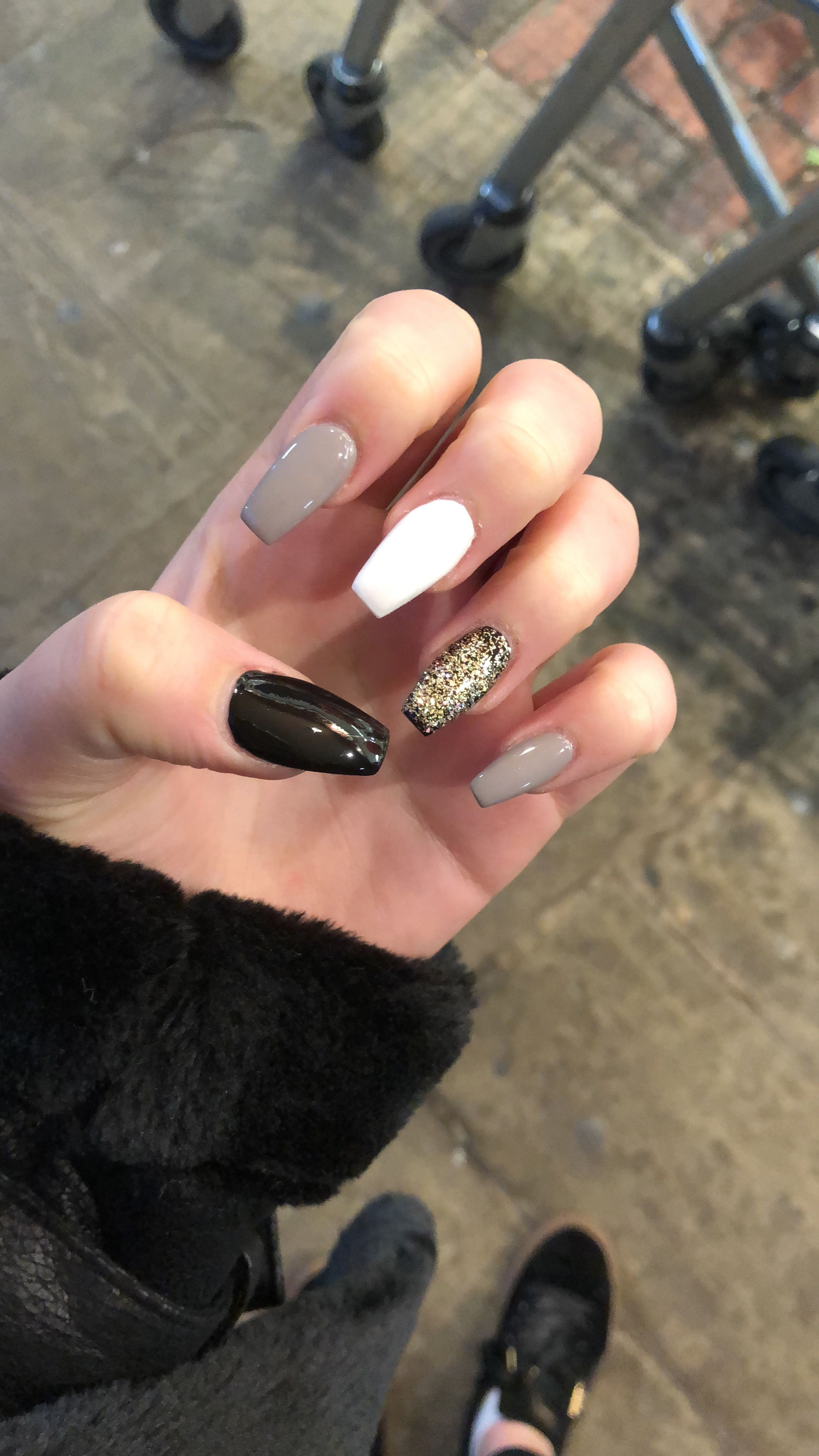 Winter Black White Grey And Gold Set Acrylic Obsessed Gold
