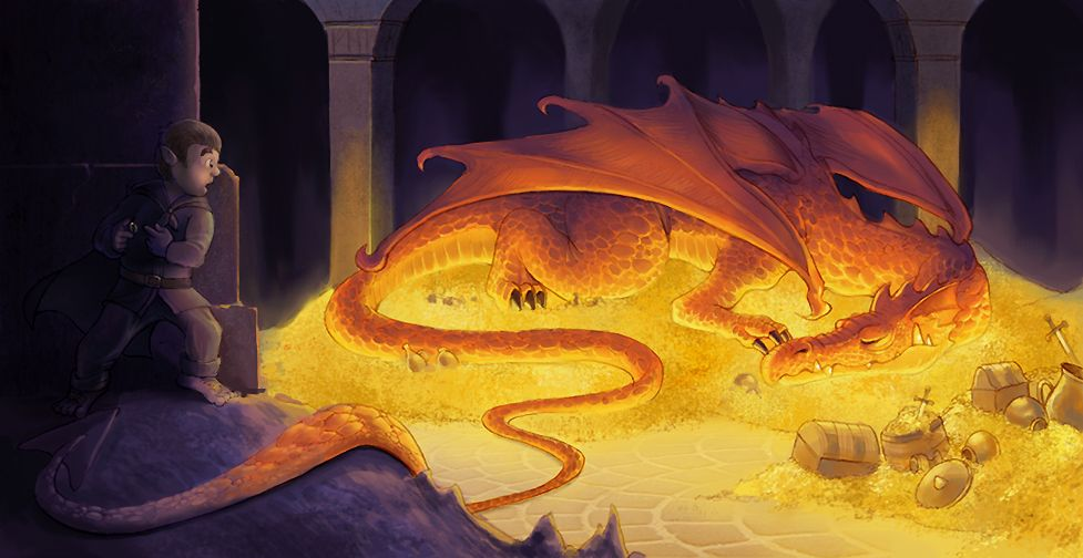 SCALE - Smaug and Bilbo by *aragornbird on deviantART - Smaug's one missing scale in his breastplate proved to be his downfall.