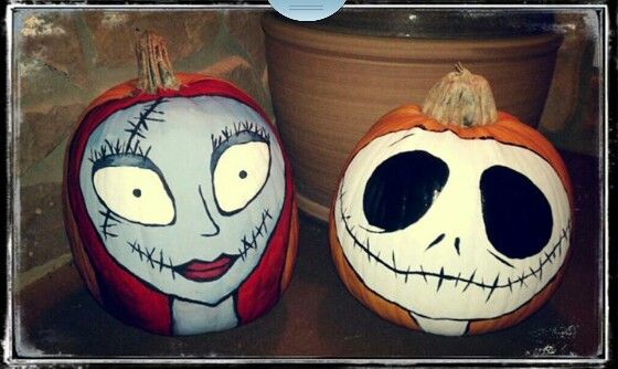 Pumpkins I Painted Last Year Jack And Sally From The