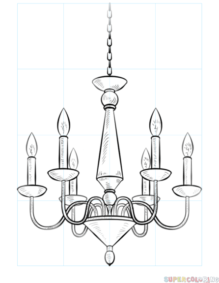 How To Draw A Chandelier Step By Drawing Tutorials For Kids And Beginners