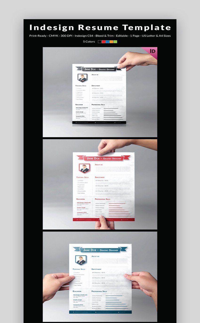 25 Indesign Resume Template Free Download in 2020 Free