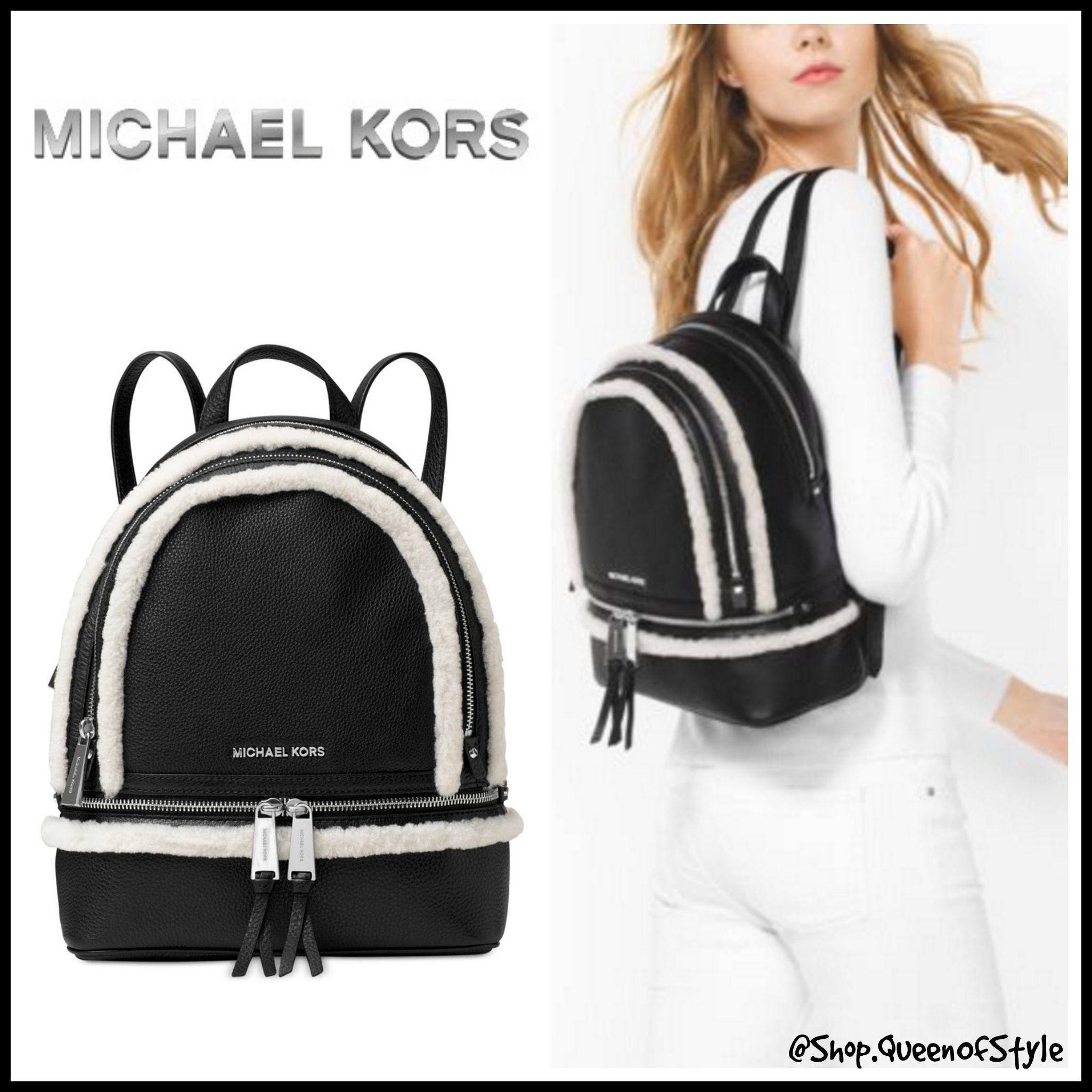 b08dbb17fc12 Michael Kors Rhea Medium Leather Backpack Black- Fenix Toulouse Handball