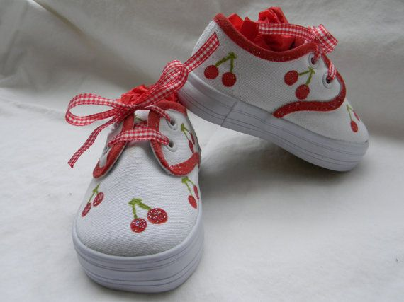 Hand Painted Red Glitter Cherry Shoes