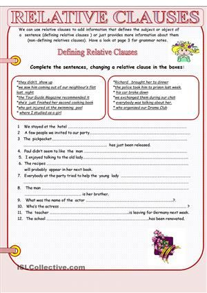 Relative Clauses With Images Relative Clauses Teaching