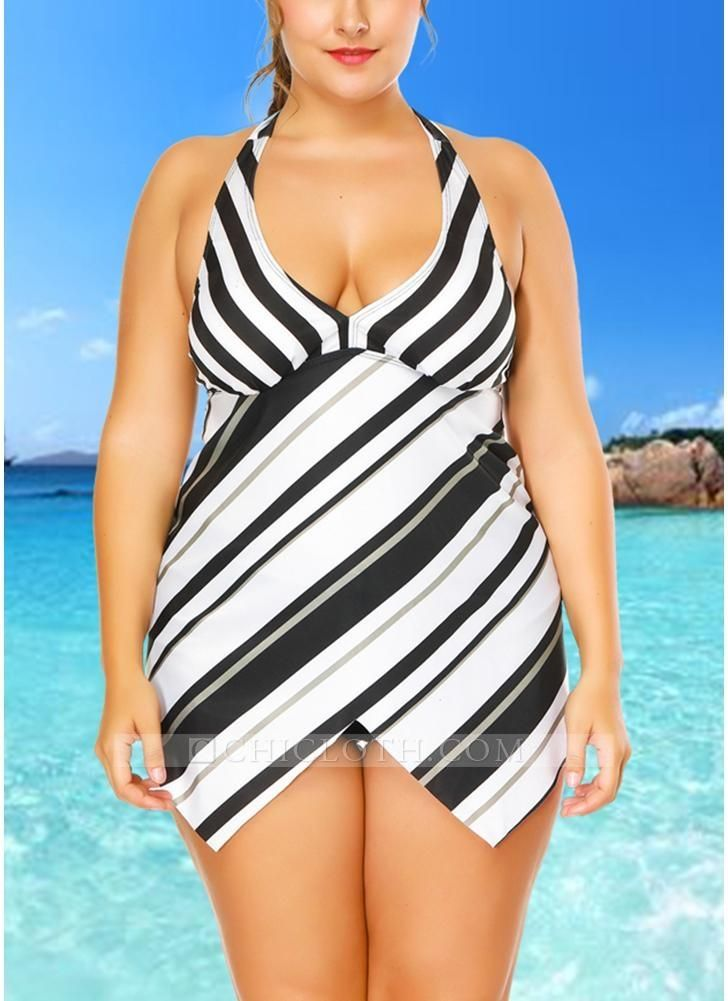 9a7835f498 B/ Chicloth Plus Size Striped Print Asymmetrical Hem Bikini Set - Black /  XXL