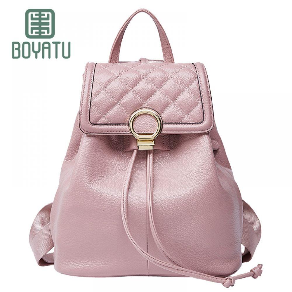 408959ec6e4d BOYATU Genuine Leather Feminine Backpack Female Mochila Rucksack Sac A Dos  Vintage Bagpack Simple Shoulder Bag Women for Girls Price  82.08   FREE  Shipping ...